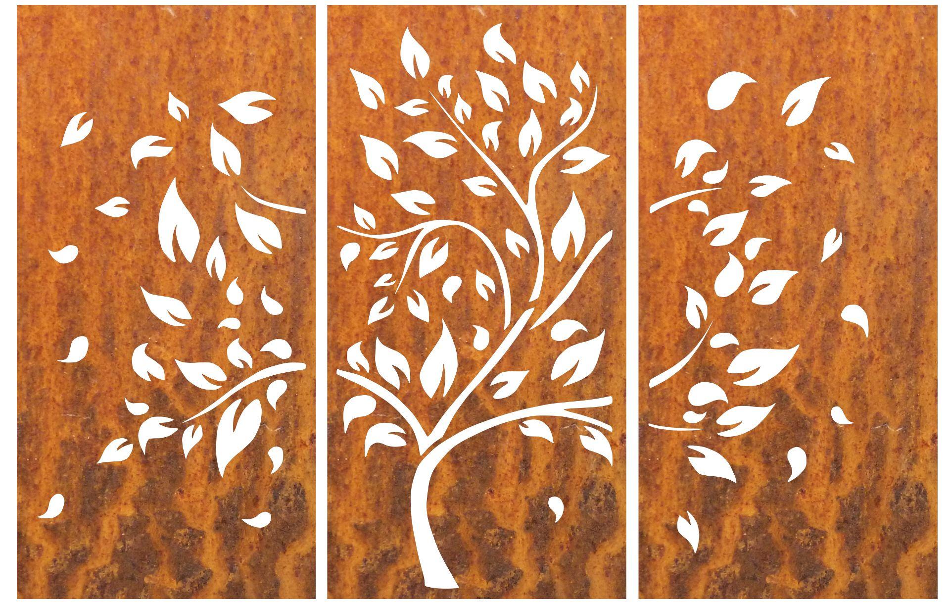 Metall / Stahlblech Motiv Baum mit Edelrost 3 teilig
